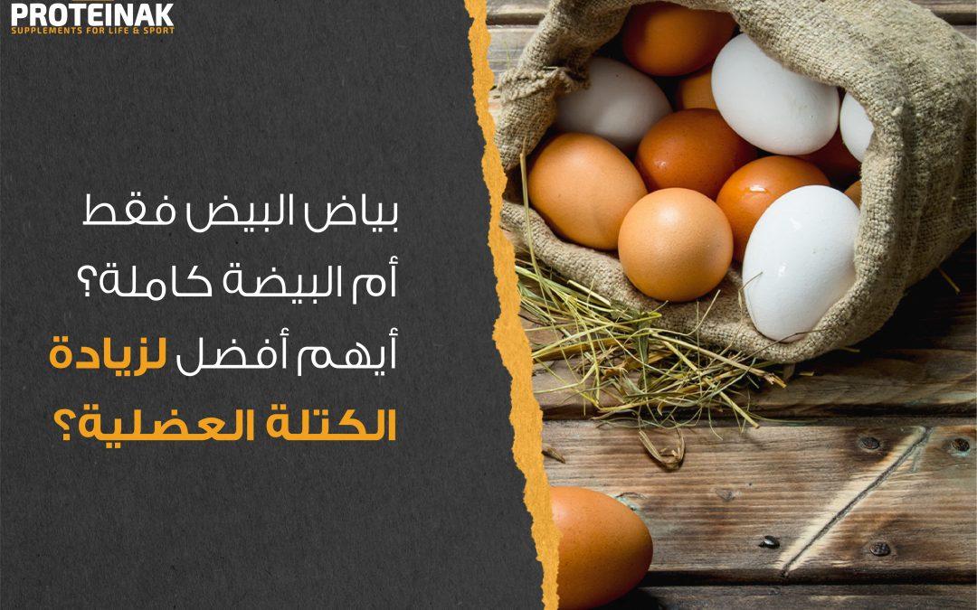 بياض البيض فقط ام البيضة كاملة؟ أيهم افضل لزيادة الكتلة العضلية؟